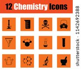 chemistry icon set. orange... | Shutterstock .eps vector #1142692388