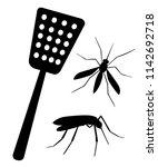 black silhouette. fly swatter... | Shutterstock .eps vector #1142692718