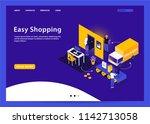 easy shopping isometric vector... | Shutterstock .eps vector #1142713058