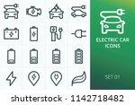 electric car icons set. set of... | Shutterstock .eps vector #1142718482