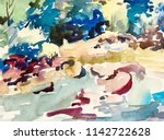abstract watercolor painting of ... | Shutterstock . vector #1142722628