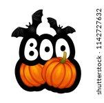 cartoon halloween sticker with... | Shutterstock .eps vector #1142727632