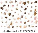 hands with skin color diversity ... | Shutterstock .eps vector #1142727725