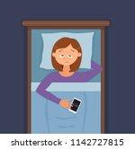 sleepless woman face cartoon... | Shutterstock .eps vector #1142727815