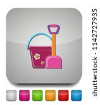toy bucket and spade isolated... | Shutterstock .eps vector #1142727935