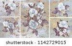 collection of designer oil... | Shutterstock . vector #1142729015
