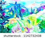 original handmade watercolor... | Shutterstock . vector #1142732438