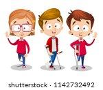 three injured kids with... | Shutterstock .eps vector #1142732492