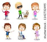color vector image of six happy ...   Shutterstock .eps vector #1142732495