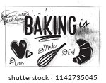 bakery poster on charcoal... | Shutterstock .eps vector #1142735045