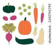 set  collection of fresh autumn ... | Shutterstock .eps vector #1142741795