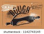 bakery poster on paper craft... | Shutterstock .eps vector #1142743145