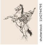Hand Drawn Sketch Of Cowboy On...