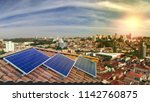 photovoltaic power plant on the ... | Shutterstock . vector #1142760875