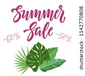 summer sale banner design with... | Shutterstock .eps vector #1142770808