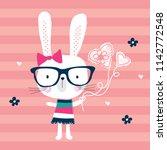 cute bunny girl on striped... | Shutterstock .eps vector #1142772548