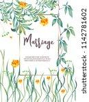 botanic card with monstera leaf ... | Shutterstock .eps vector #1142781602