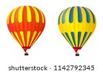 two 3d colorful yellow and red... | Shutterstock .eps vector #1142792345