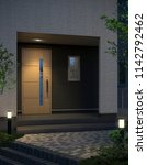 housing entrance  3d render. | Shutterstock . vector #1142792462