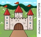 castle cartoon drawing  vector... | Shutterstock .eps vector #1142797298