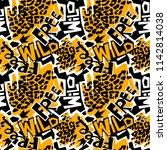 t shirt print  dry brush ink...   Shutterstock .eps vector #1142814038