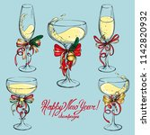 Vector Set Of Champagne Glasse...