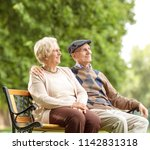 senior couple sitting on a... | Shutterstock . vector #1142831318