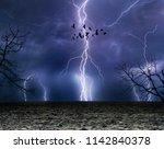 powerful lightnings in dark... | Shutterstock . vector #1142840378