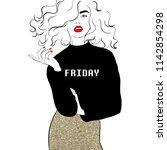 fashion illustration girl... | Shutterstock .eps vector #1142854298