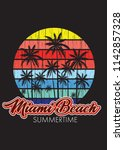 miami beach florida summertime... | Shutterstock .eps vector #1142857328