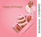 pink birthday card   Shutterstock .eps vector #114286402
