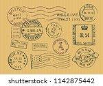 vintage postage stamps... | Shutterstock .eps vector #1142875442