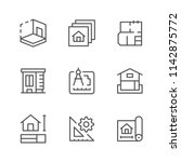 set line icons of architectural | Shutterstock .eps vector #1142875772