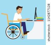 disabled man in wheelchair work ... | Shutterstock .eps vector #1142877128