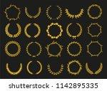 set of laurel wreaths. heraldic ... | Shutterstock .eps vector #1142895335