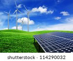 solar cell energy panels and... | Shutterstock . vector #114290032