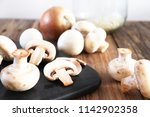 cooking with champignons  ...   Shutterstock . vector #1142902358
