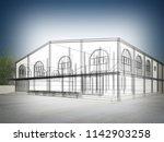 sketch design of house  3d...   Shutterstock . vector #1142903258