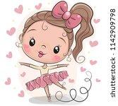 cute cartoon ballerina on a... | Shutterstock .eps vector #1142909798