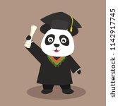 cute panda wearing campus cap... | Shutterstock .eps vector #1142917745
