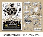 grill time party bbq food... | Shutterstock .eps vector #1142939498