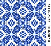 majolica pottery tile  blue and ... | Shutterstock .eps vector #1142948558