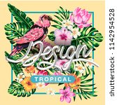 tropical flowers and palms... | Shutterstock .eps vector #1142954528