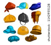 set of head dresses. hat icon... | Shutterstock .eps vector #1142955128