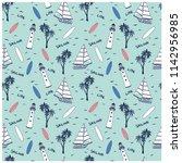 sailboat  seamless pattern...   Shutterstock .eps vector #1142956985