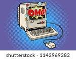 omg vintage retro computer. pop ...   Shutterstock .eps vector #1142969282