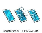 smartphone whole  cracked glass ... | Shutterstock .eps vector #1142969285