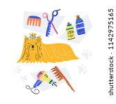 dog and some grooming tools.... | Shutterstock .eps vector #1142975165