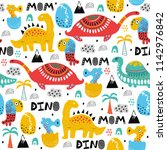pattern with dino dinosaur with ... | Shutterstock .eps vector #1142976842