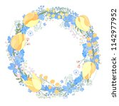 round frame with pretty flowers ... | Shutterstock .eps vector #1142977952